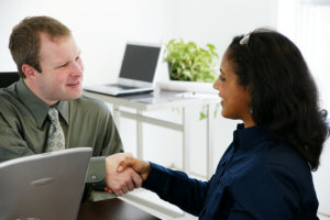 woman applying for a job